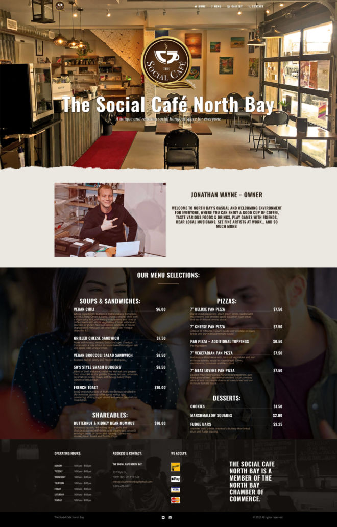 The Social Café North Bay Website